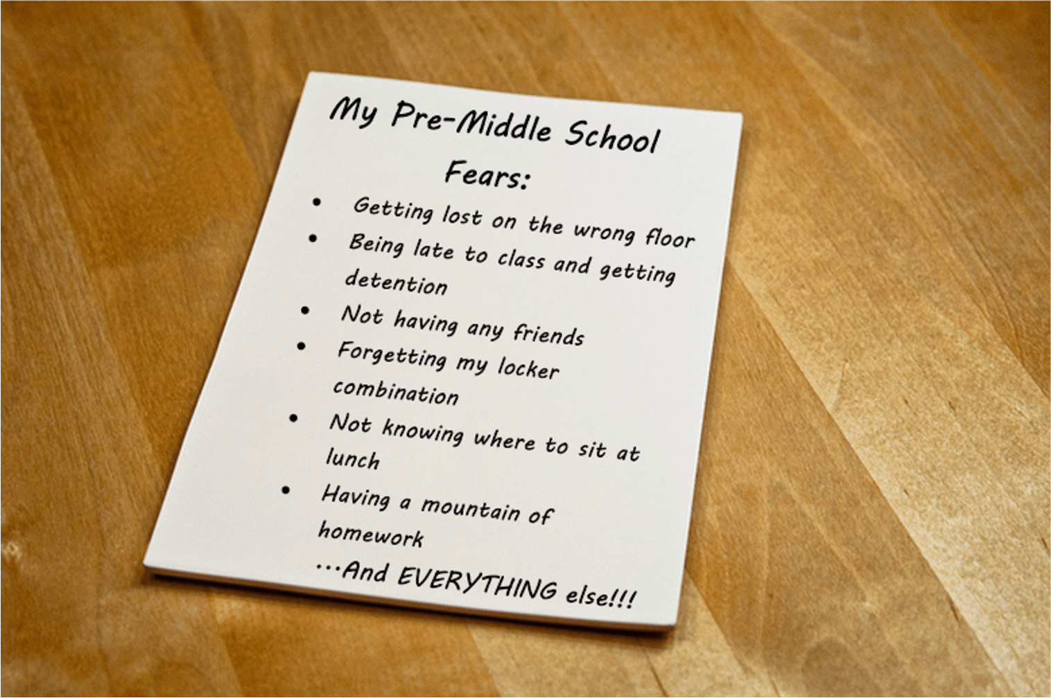 Dealing with fears helps prepare your child for middle school.
