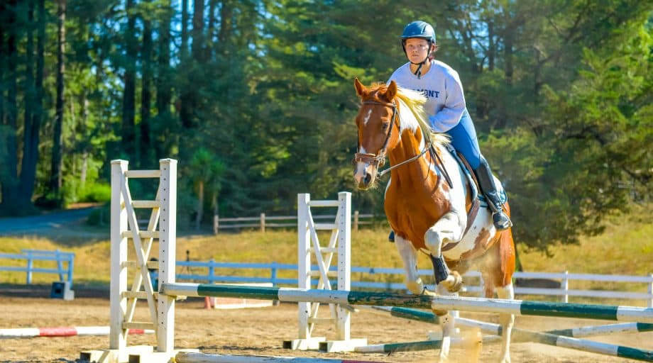 Camper jumps horse at summer camp