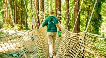 A camper walks accross a rope bridge