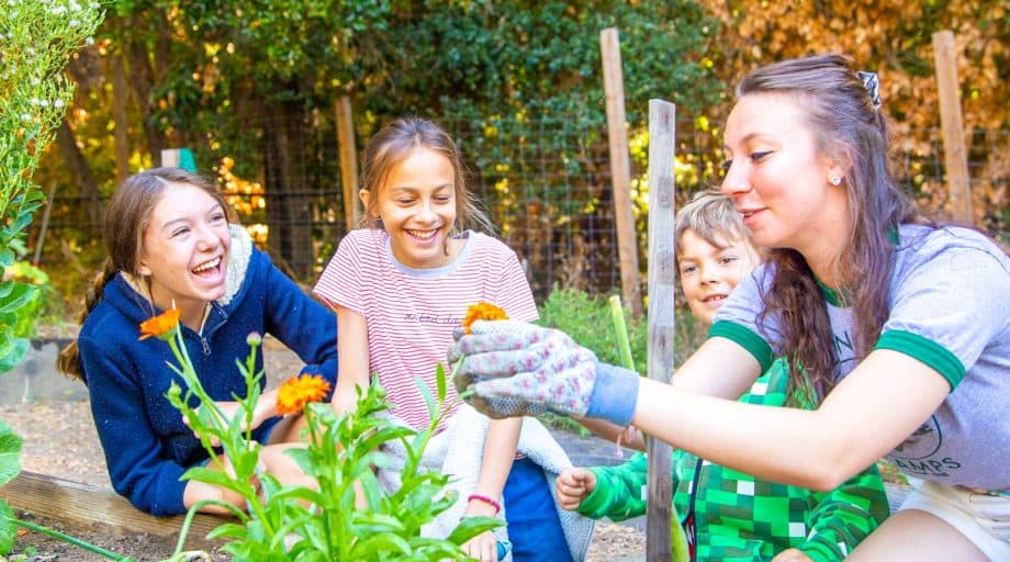 Counselor shows campers how to garden