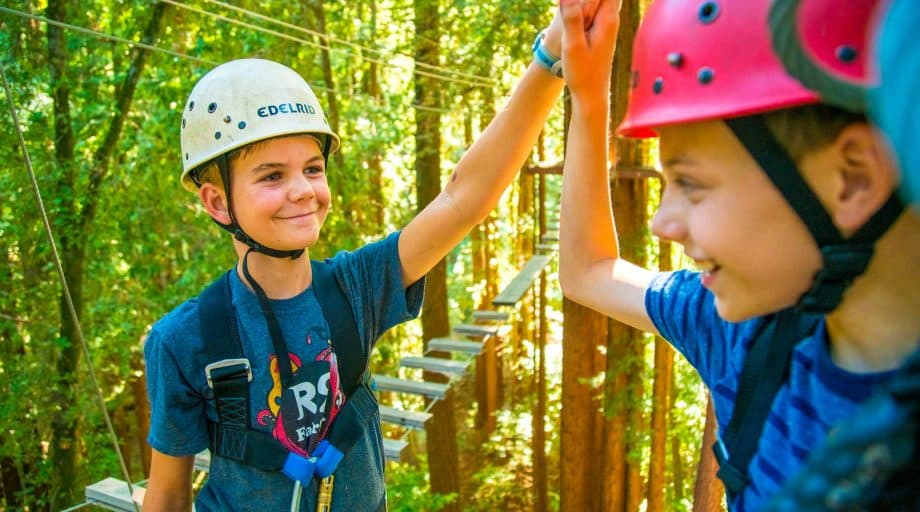 Campers high five on high ropes course at camp