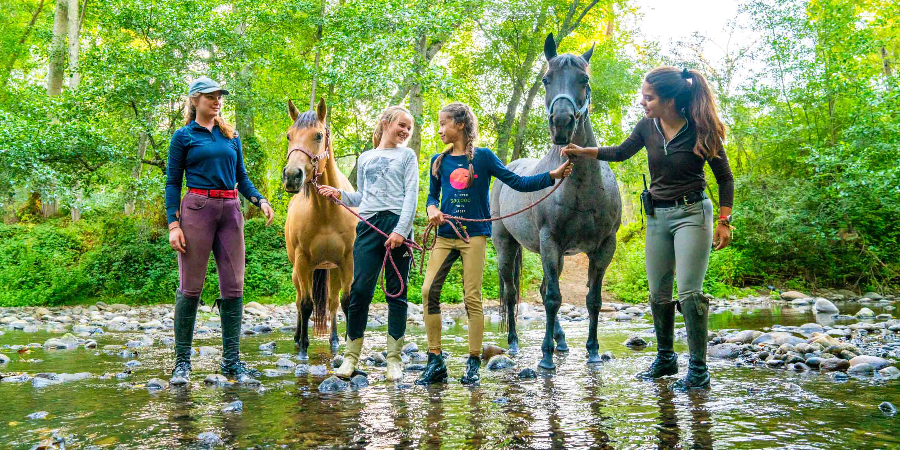 Campers walk horses in shallow river