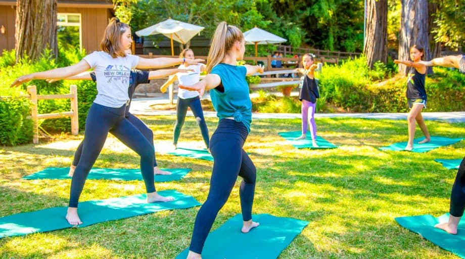 Campers form circle during yoga