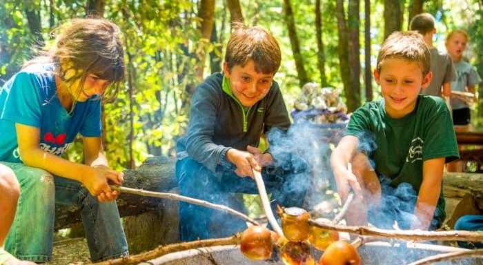 Three boys roasting apples on a fire