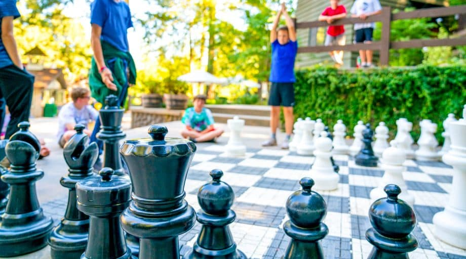 Giant outdoor chess board at summer camp