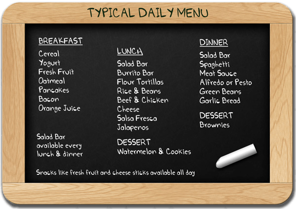 Kennolyn's typical daily menu, displayed on a chalkboard