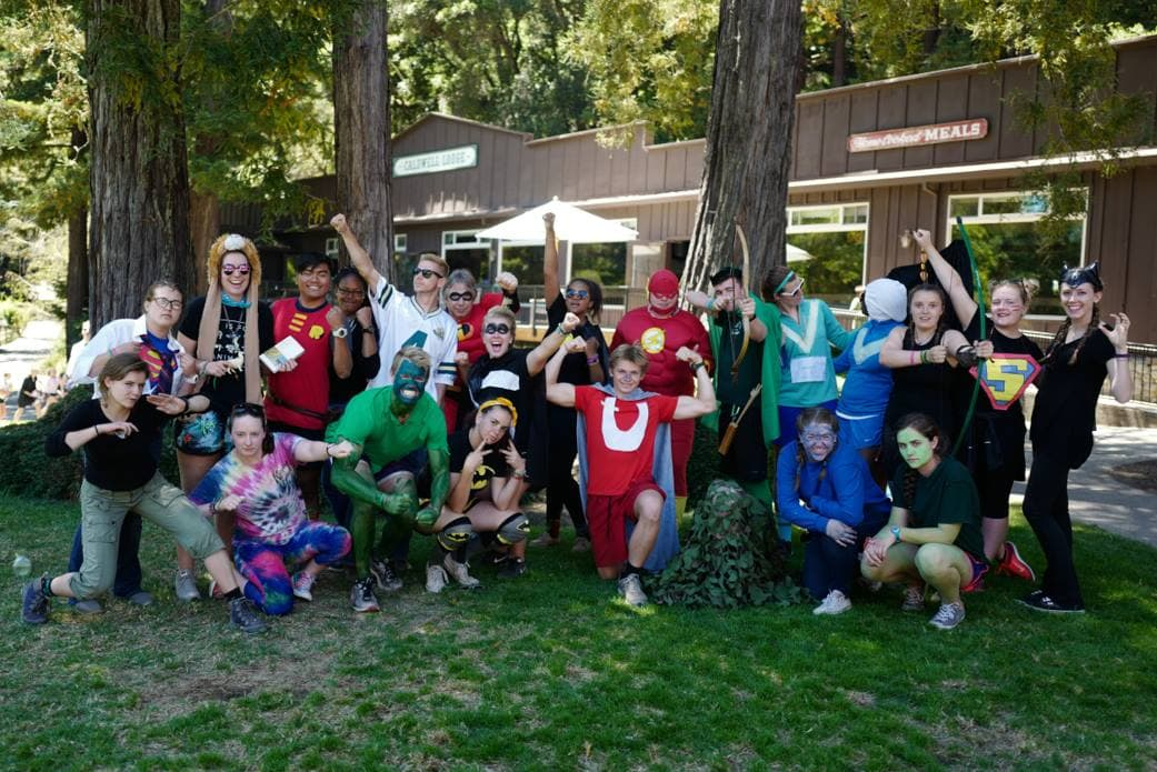 A group of counselors dressed up in costumes