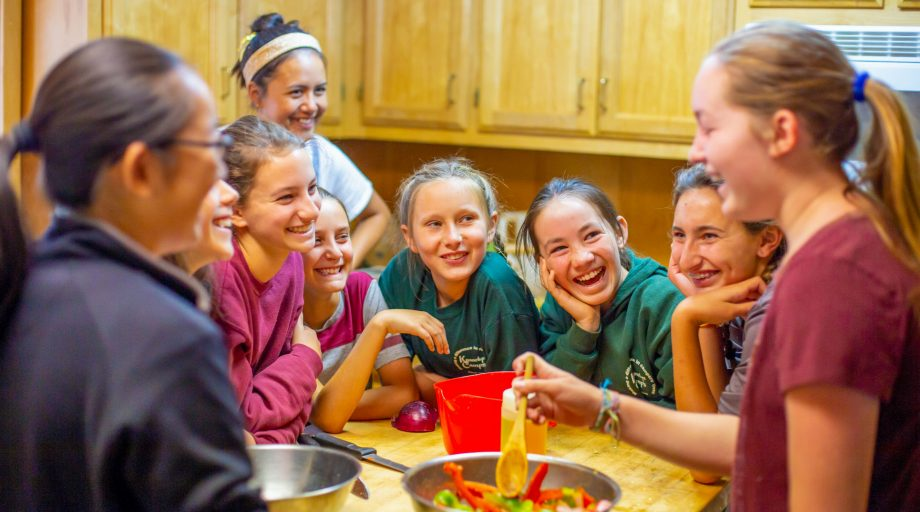 A group of girls cooking